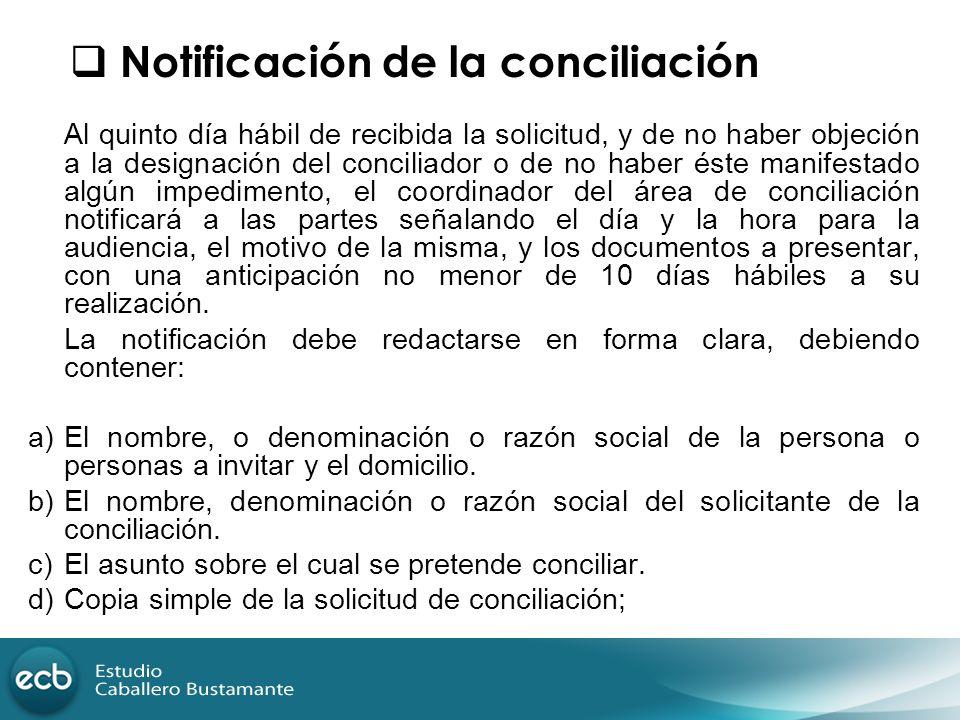 Notificación de la conciliación