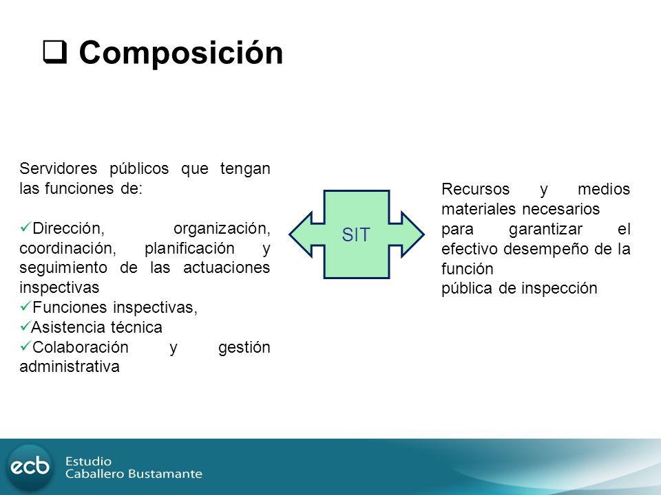 Composición SIT Servidores públicos que tengan las funciones de: