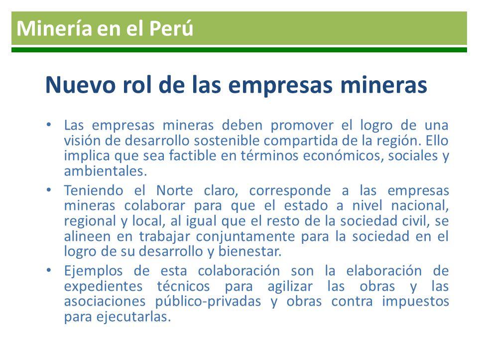 Nuevo rol de las empresas mineras