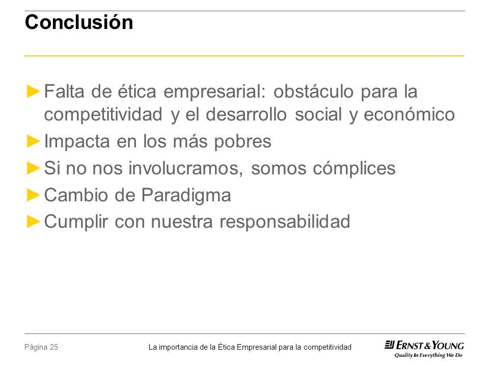 Conclusión Falta de ética empresarial: obstáculo para la competitividad y el desarrollo social y económico.
