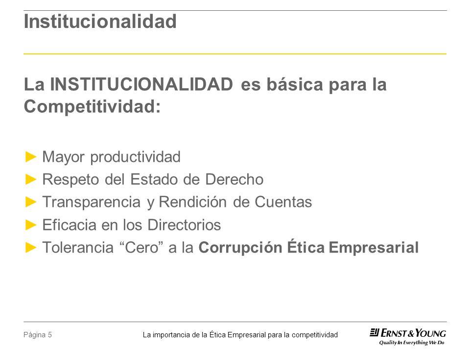 Institucionalidad La INSTITUCIONALIDAD es básica para la Competitividad: Mayor productividad. Respeto del Estado de Derecho.