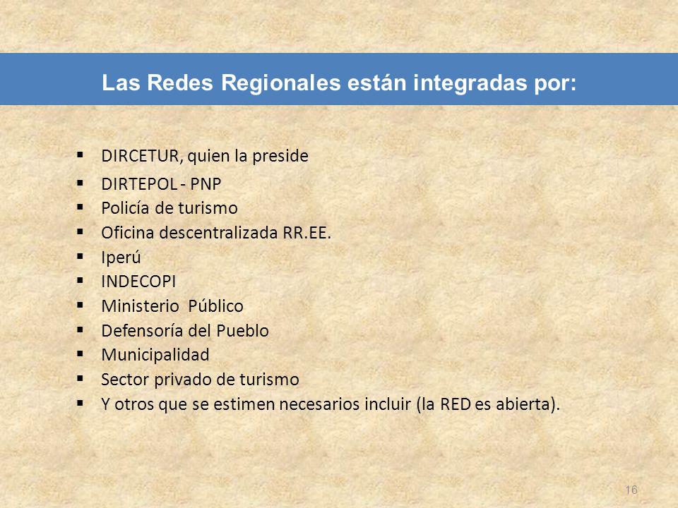 Las Redes Regionales están integradas por: