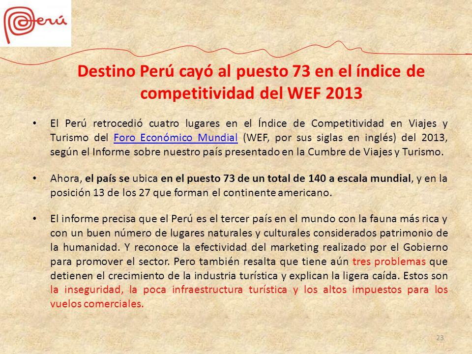 Destino Perú cayó al puesto 73 en el índice de competitividad del WEF 2013