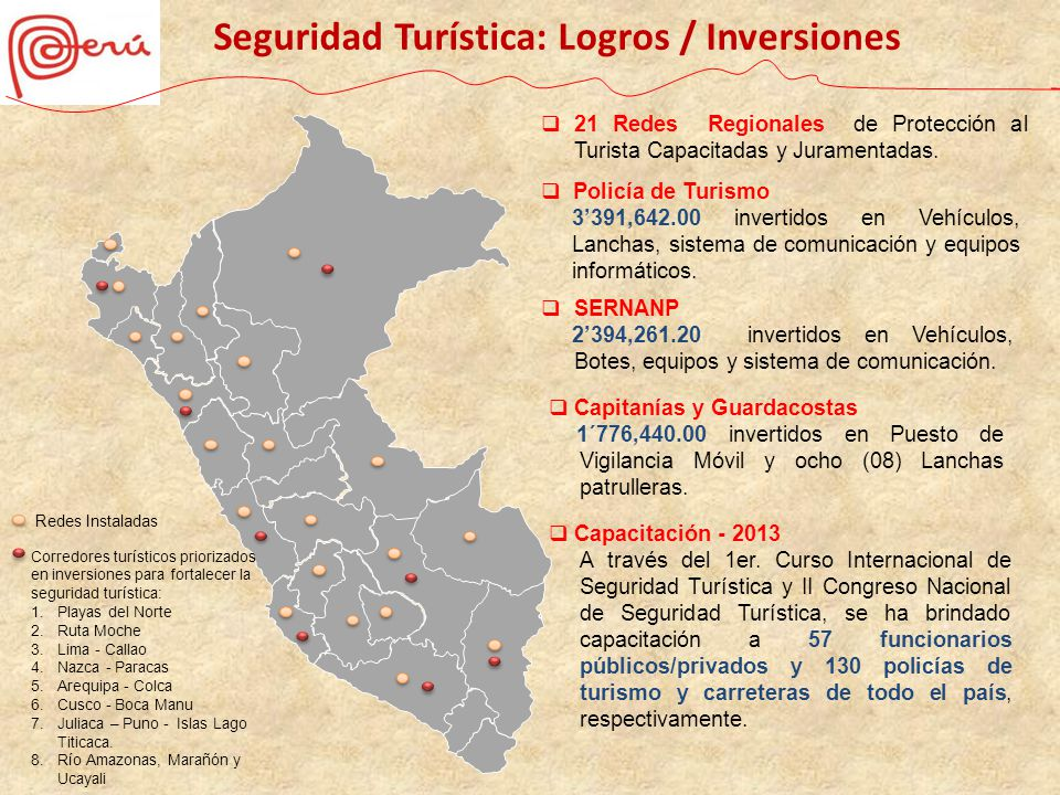 Seguridad Turística: Logros / Inversiones
