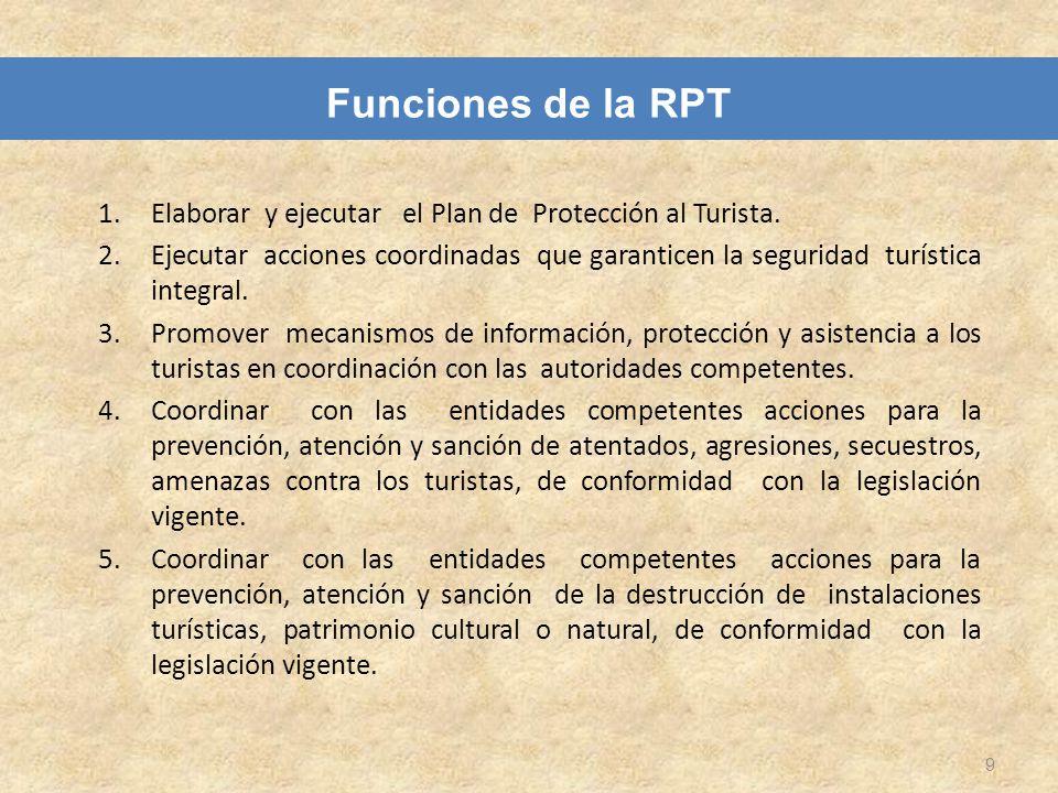Funciones de la RPT Elaborar y ejecutar el Plan de Protección al Turista.