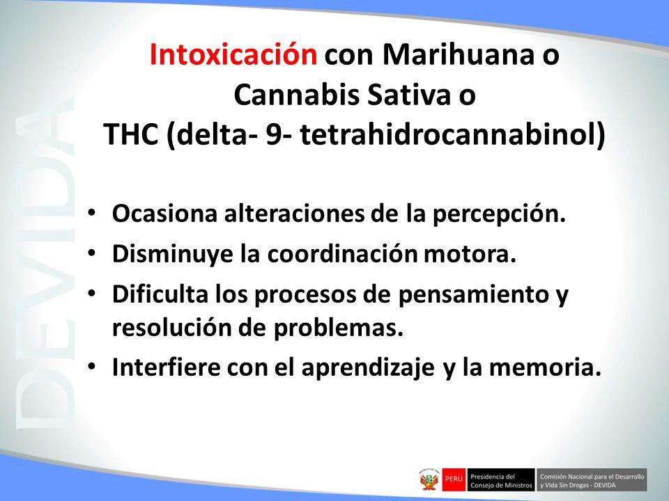 Intoxicación con Marihuana o Cannabis Sativa o THC (delta- 9- tetrahidrocannabinol)