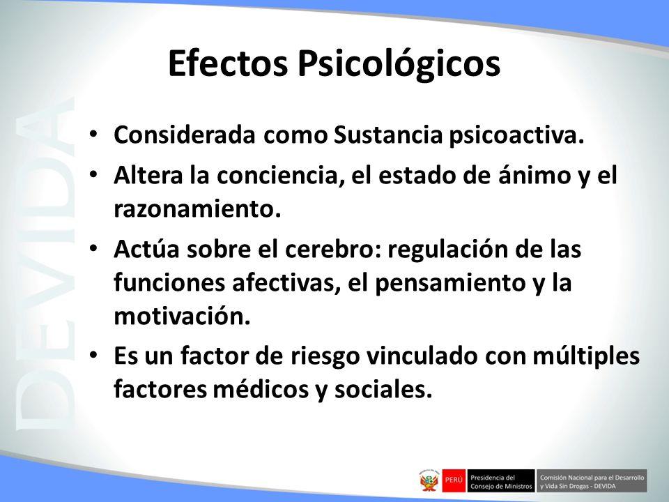Efectos Psicológicos Considerada como Sustancia psicoactiva.