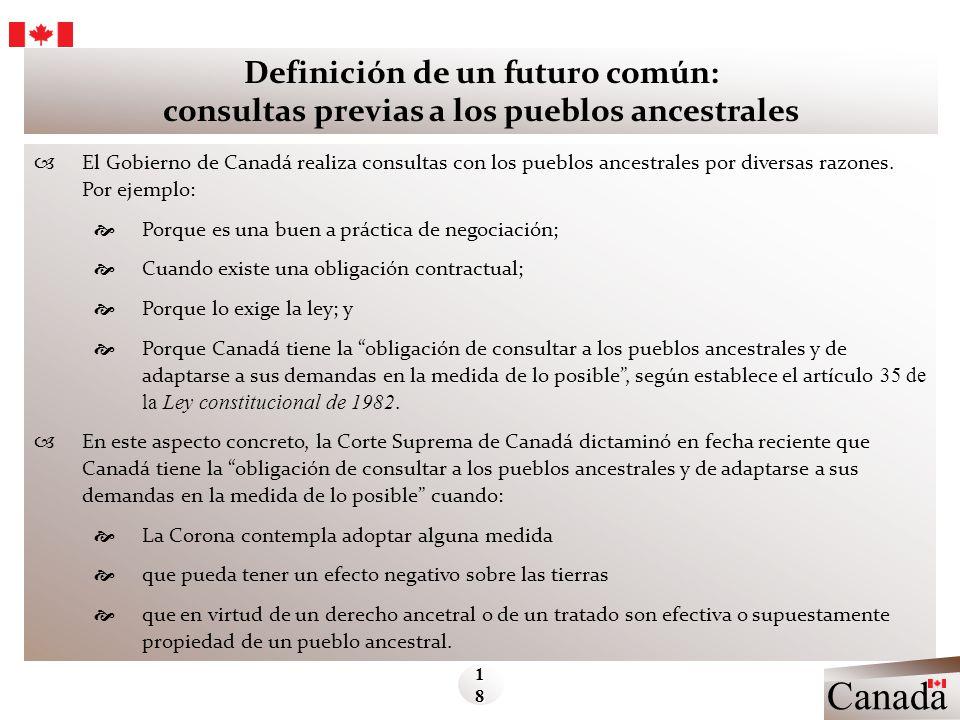Canada Definición de un futuro común: