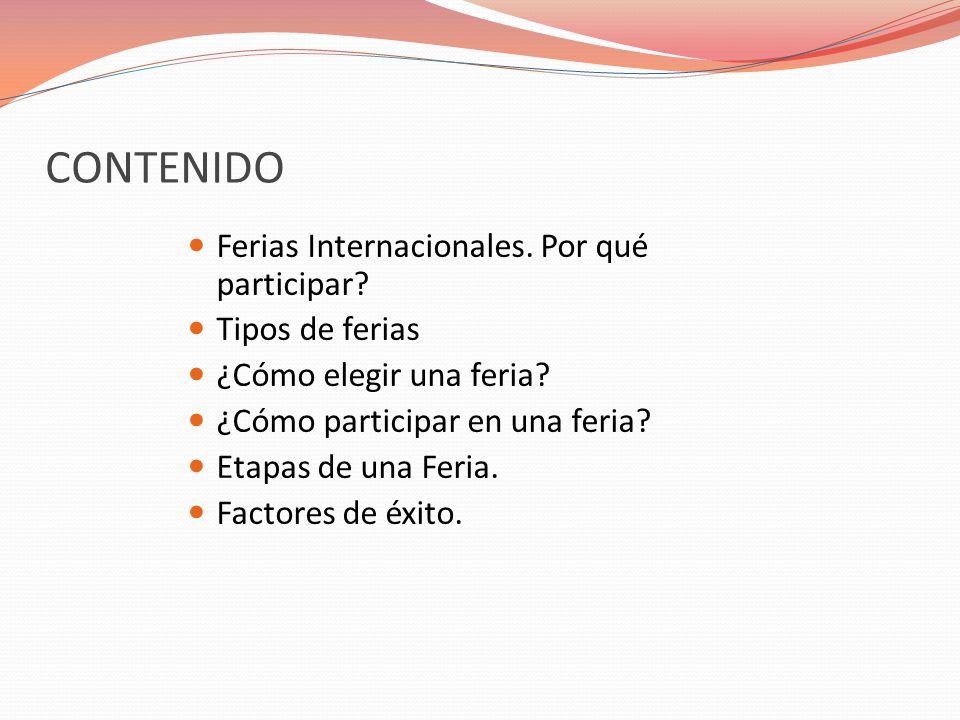 CONTENIDO Ferias Internacionales. Por qué participar Tipos de ferias