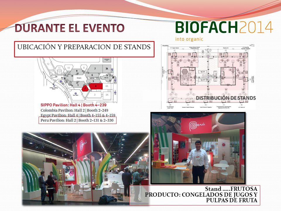 DURANTE EL EVENTO UBICACIÓN Y PREPARACION DE STANDS