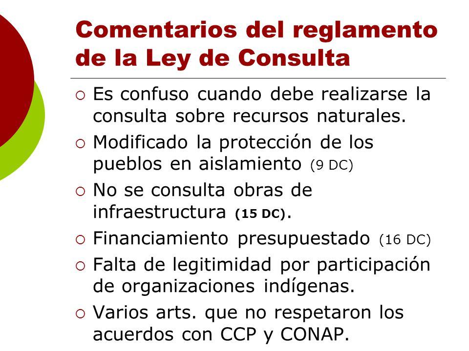 Comentarios del reglamento de la Ley de Consulta