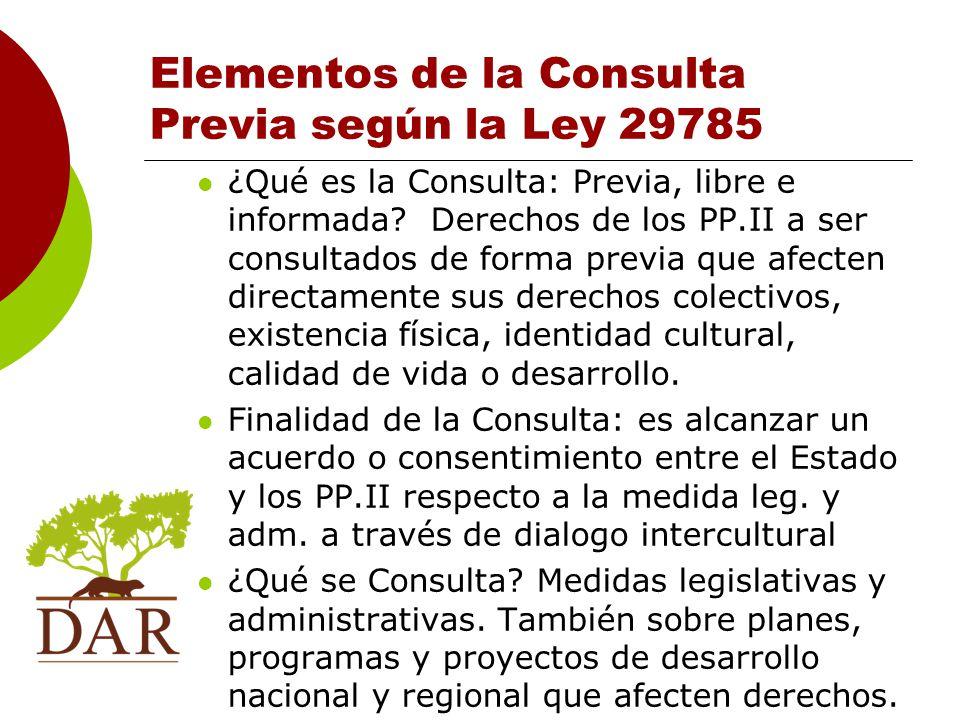 Elementos de la Consulta Previa según la Ley 29785