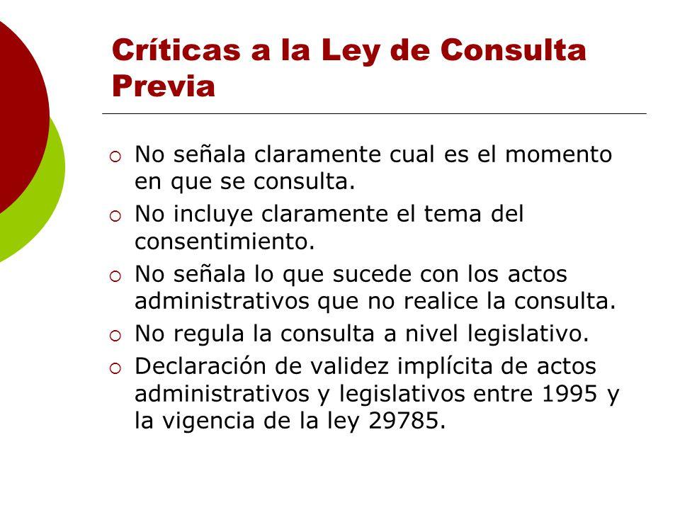 Críticas a la Ley de Consulta Previa