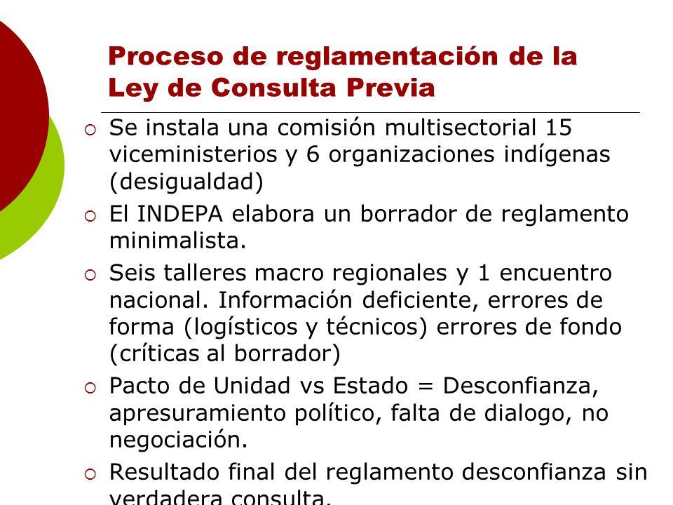 Proceso de reglamentación de la Ley de Consulta Previa