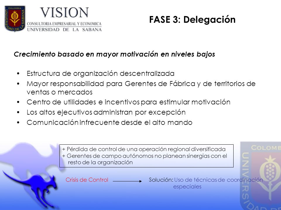 FASE 3: Delegación Crecimiento basado en mayor motivación en niveles bajos. Estructura de organización descentralizada.