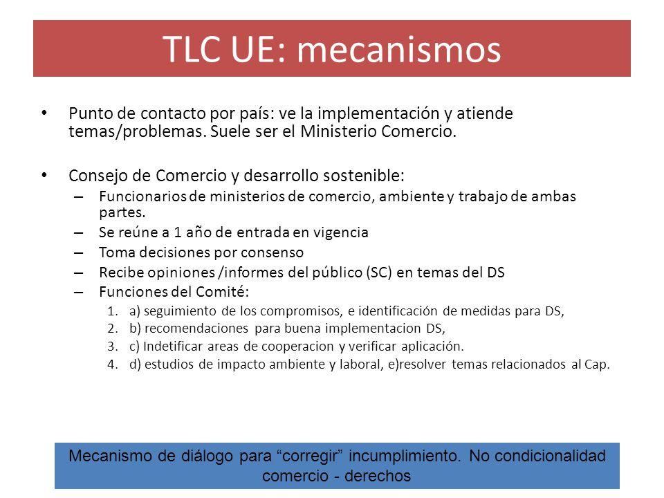 TLC UE: mecanismos Punto de contacto por país: ve la implementación y atiende temas/problemas. Suele ser el Ministerio Comercio.