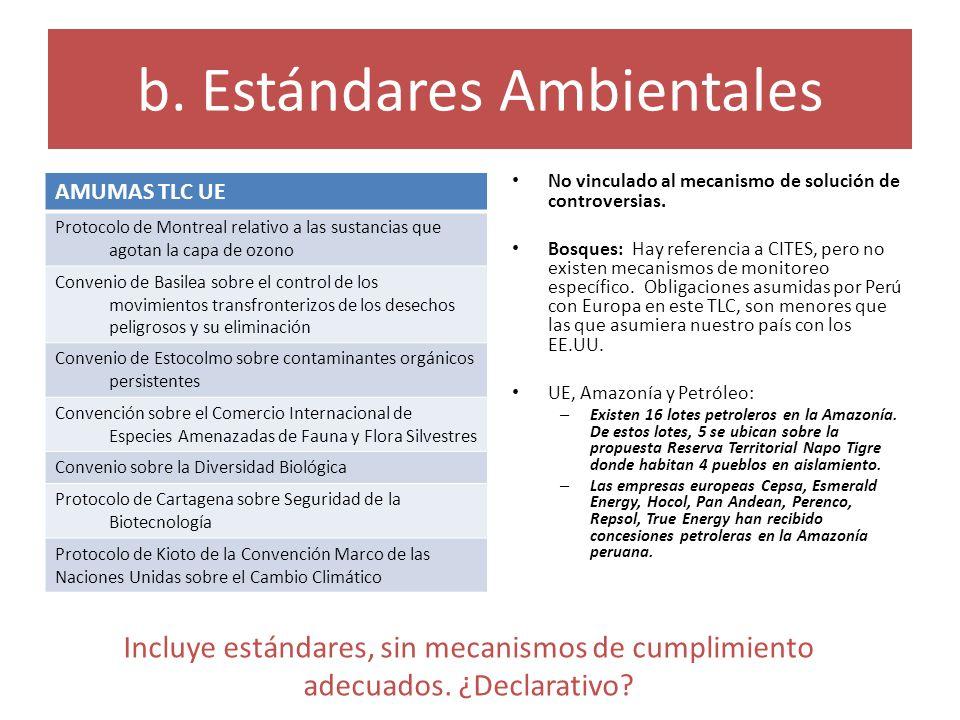 b. Estándares Ambientales