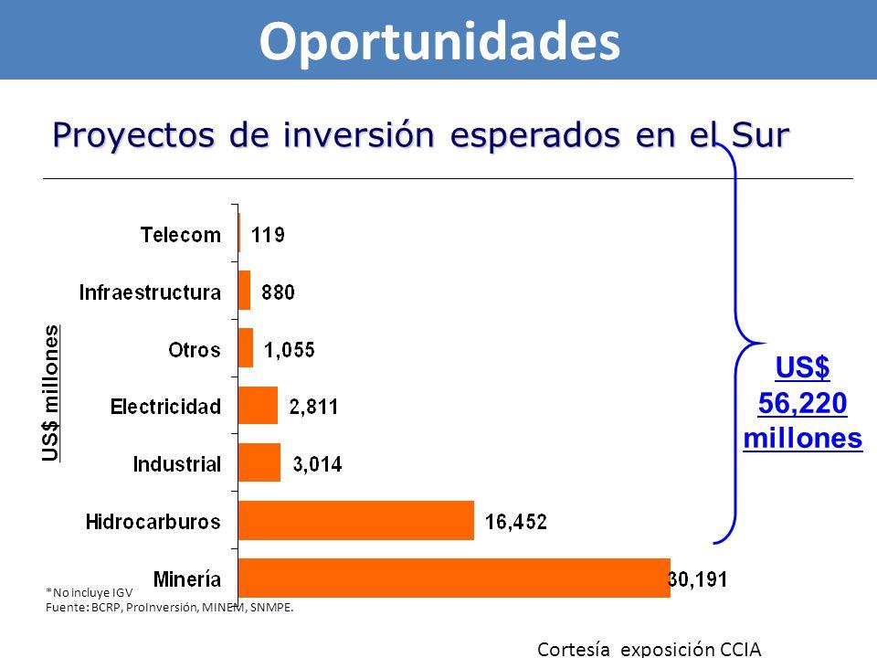 Oportunidades Proyectos de inversión esperados en el Sur US$ 56,220