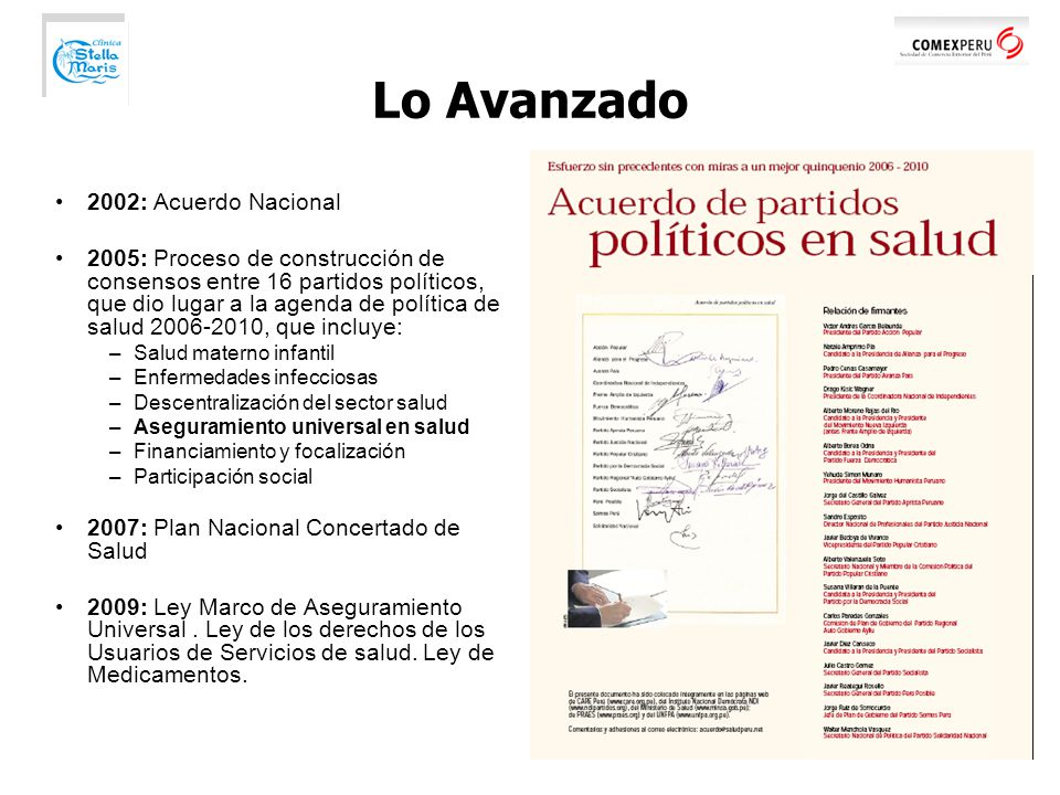 Lo Avanzado 2002: Acuerdo Nacional
