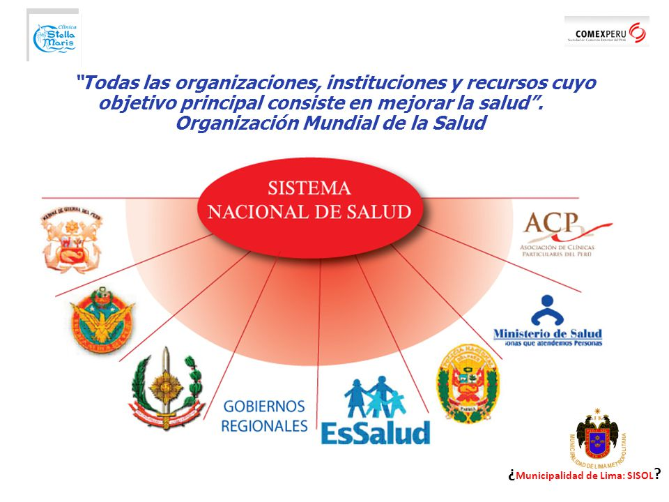 Todas las organizaciones, instituciones y recursos cuyo objetivo principal consiste en mejorar la salud . Organización Mundial de la Salud