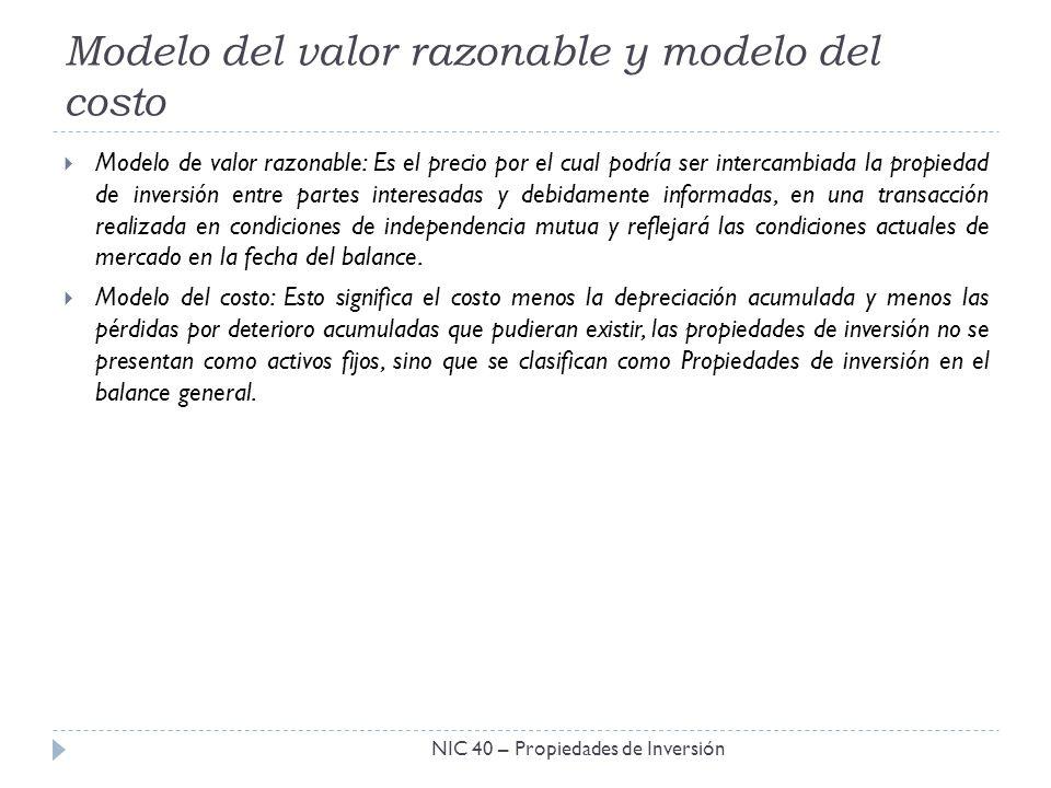 Modelo del valor razonable y modelo del costo