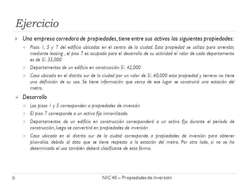 Ejercicio Una empresa corredora de propiedades, tiene entre sus activos las siguientes propiedades: