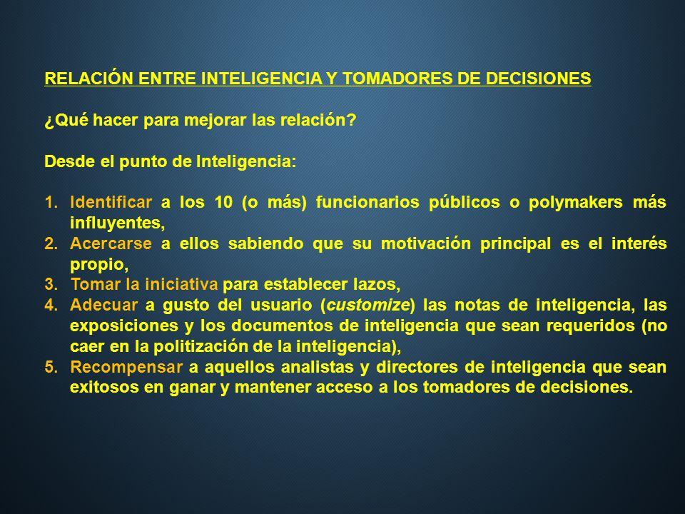 RELACIÓN ENTRE INTELIGENCIA Y TOMADORES DE DECISIONES