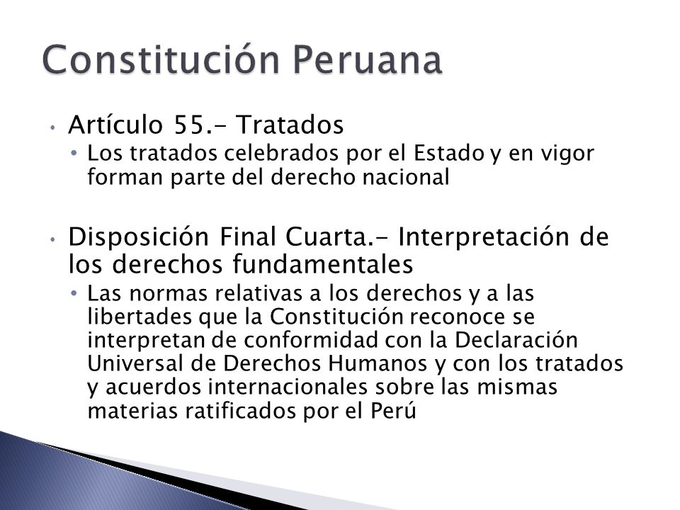 Constitución Peruana Artículo 55.- Tratados