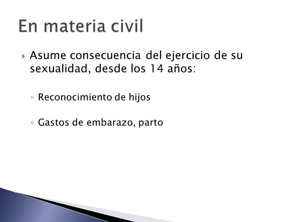 En materia civil Asume consecuencia del ejercicio de su sexualidad, desde los 14 años: Reconocimiento de hijos.