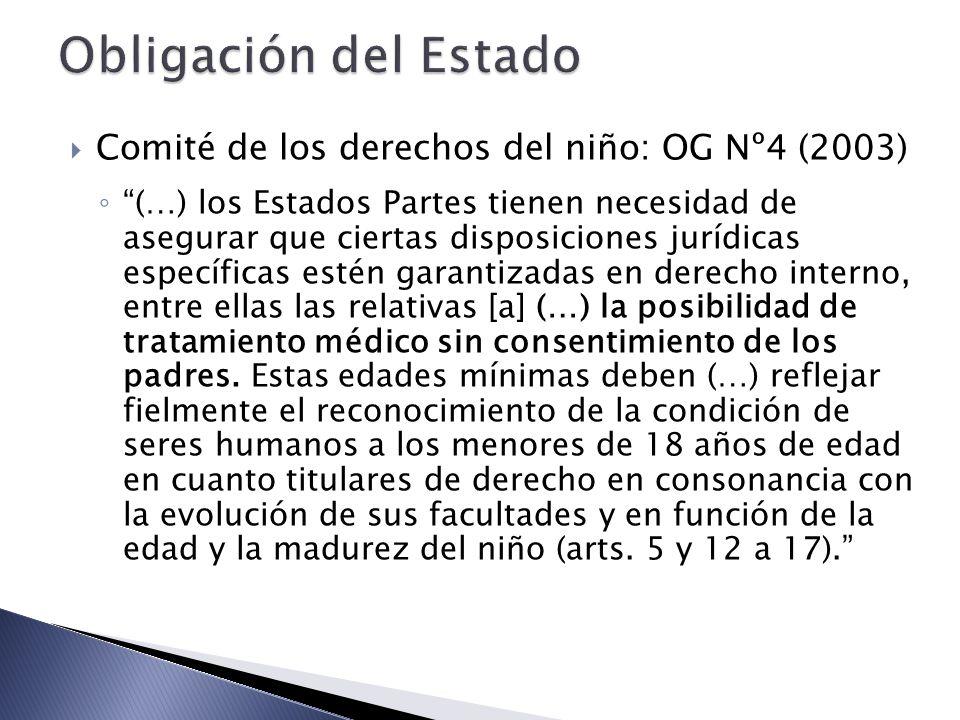 Obligación del Estado Comité de los derechos del niño: OG Nº4 (2003)