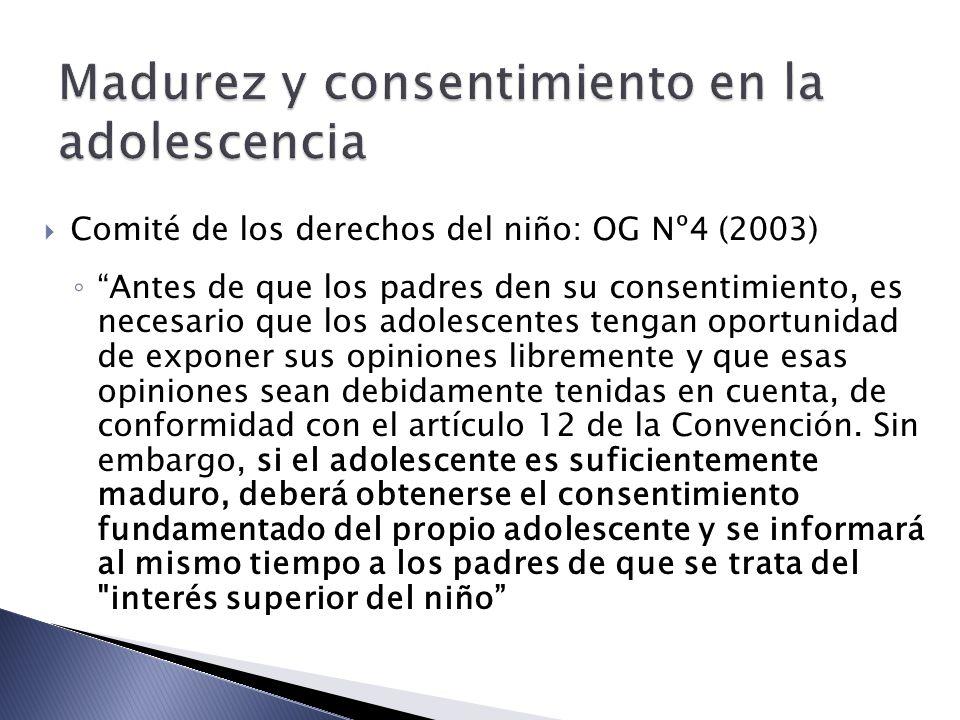 Madurez y consentimiento en la adolescencia