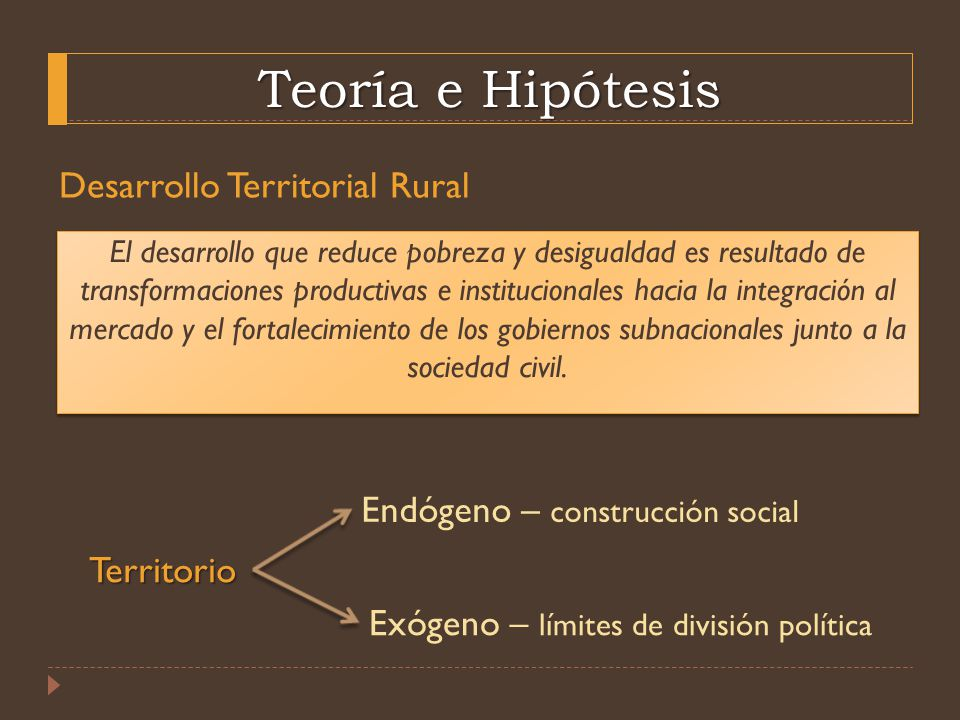 Teoría e Hipótesis Desarrollo Territorial Rural