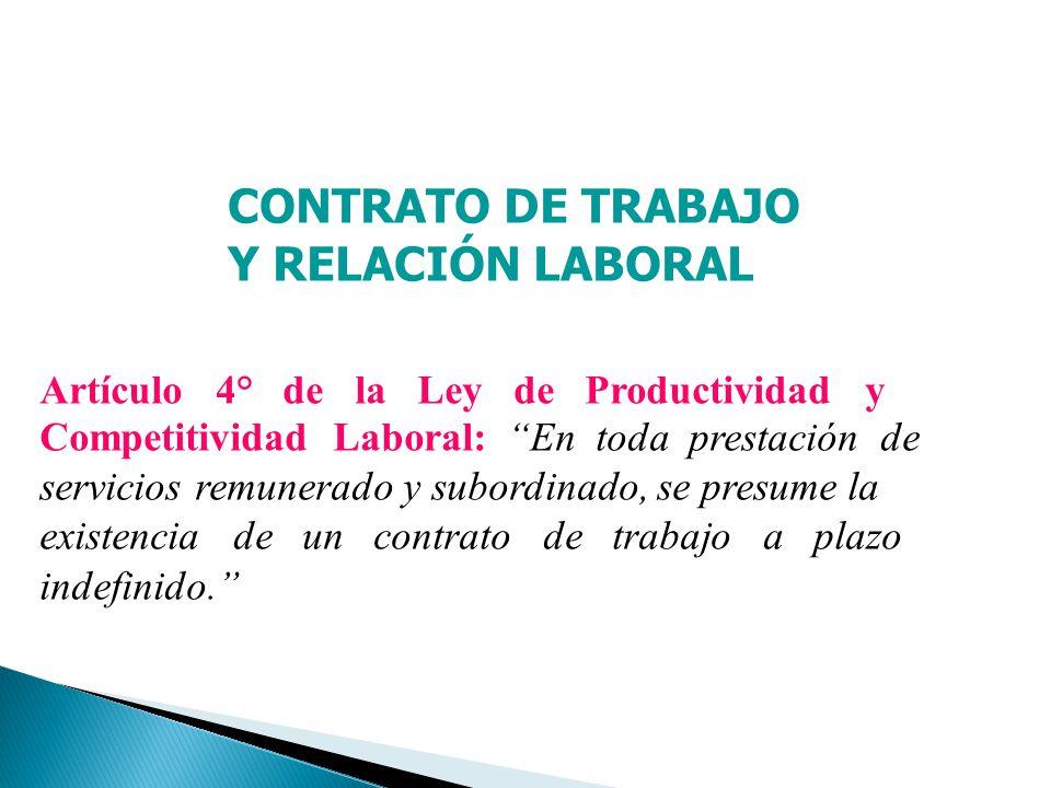 CONTRATO DE TRABAJO Y RELACIÓN LABORAL