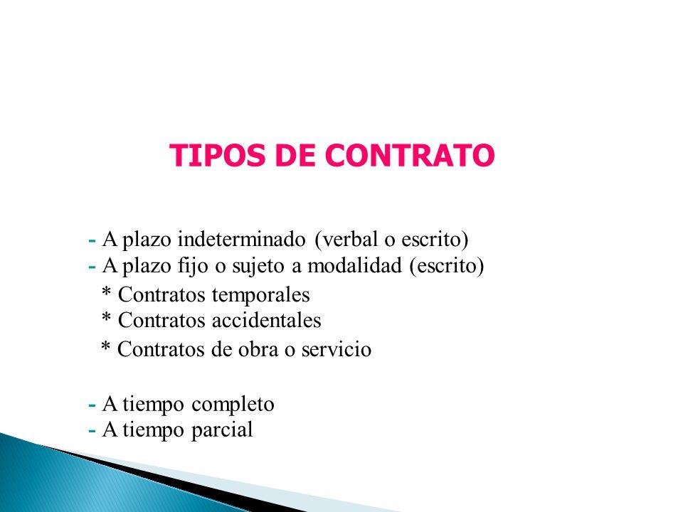 TIPOS DE CONTRATO - A plazo indeterminado (verbal o escrito)