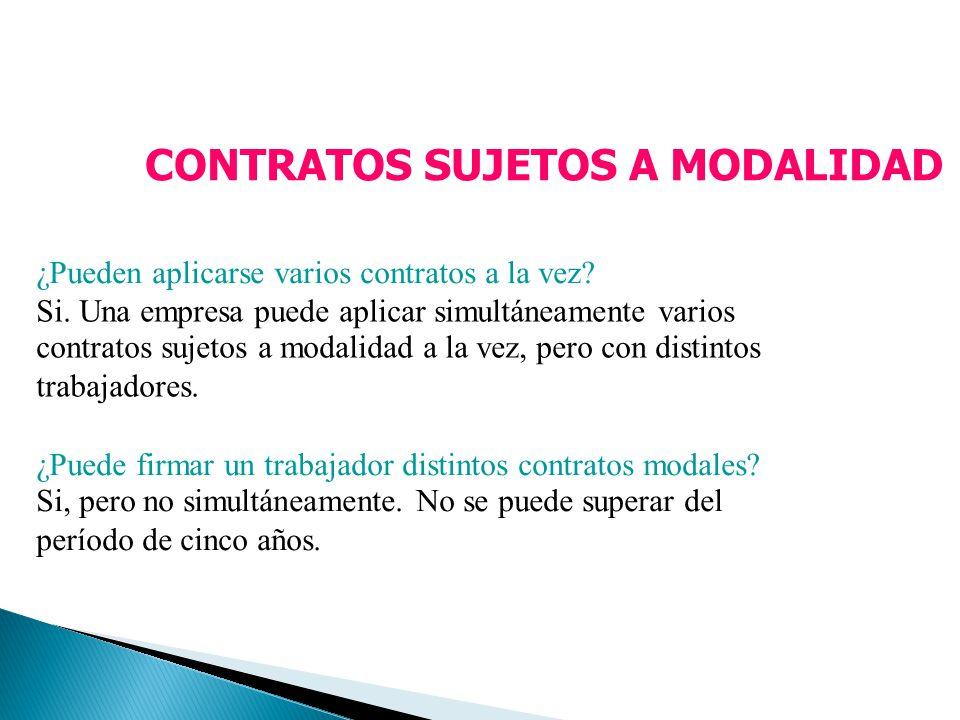 CONTRATOS SUJETOS A MODALIDAD