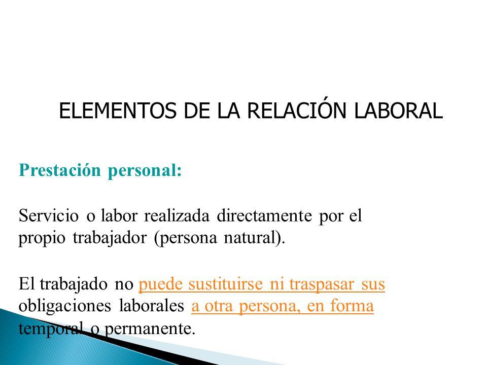 ELEMENTOS DE LA RELACIÓN LABORAL