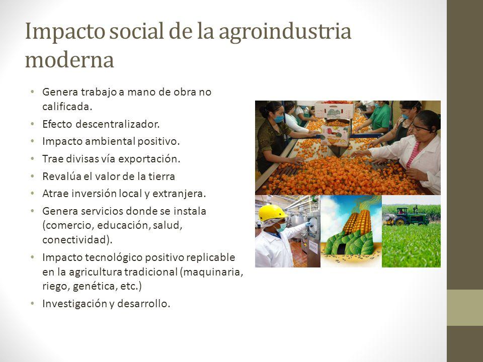 Impacto social de la agroindustria moderna