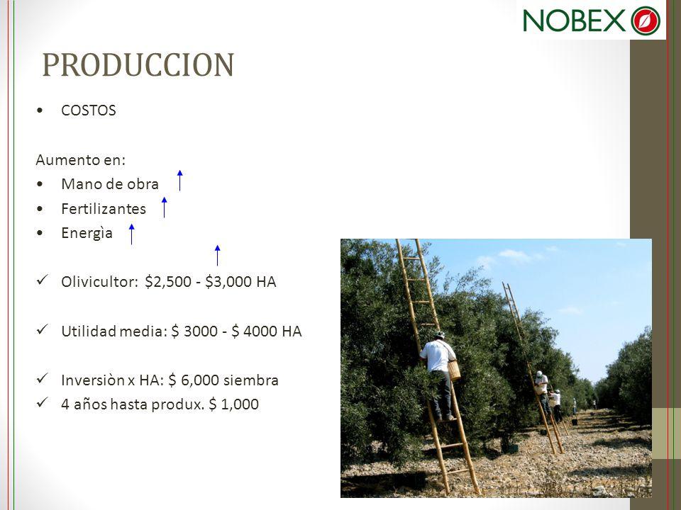 PRODUCCION COSTOS Aumento en: Mano de obra Fertilizantes Energìa