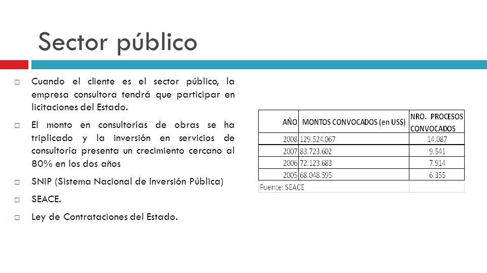 Sector público Cuando el cliente es el sector público, la empresa consultora tendrá que participar en licitaciones del Estado.