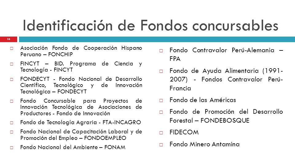 Identificación de Fondos concursables