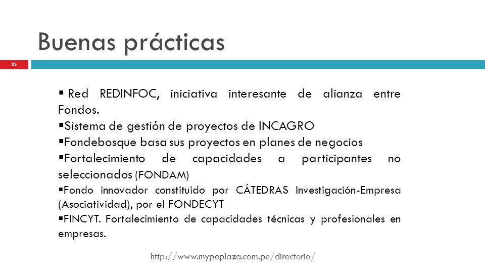 Buenas prácticas Red REDINFOC, iniciativa interesante de alianza entre Fondos. Sistema de gestión de proyectos de INCAGRO.