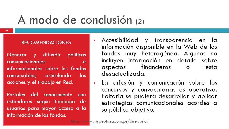 A modo de conclusión (2) RECOMENDACIONES.