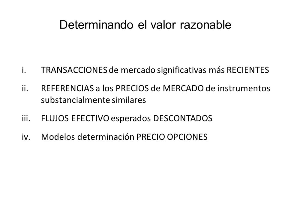 Determinando el valor razonable