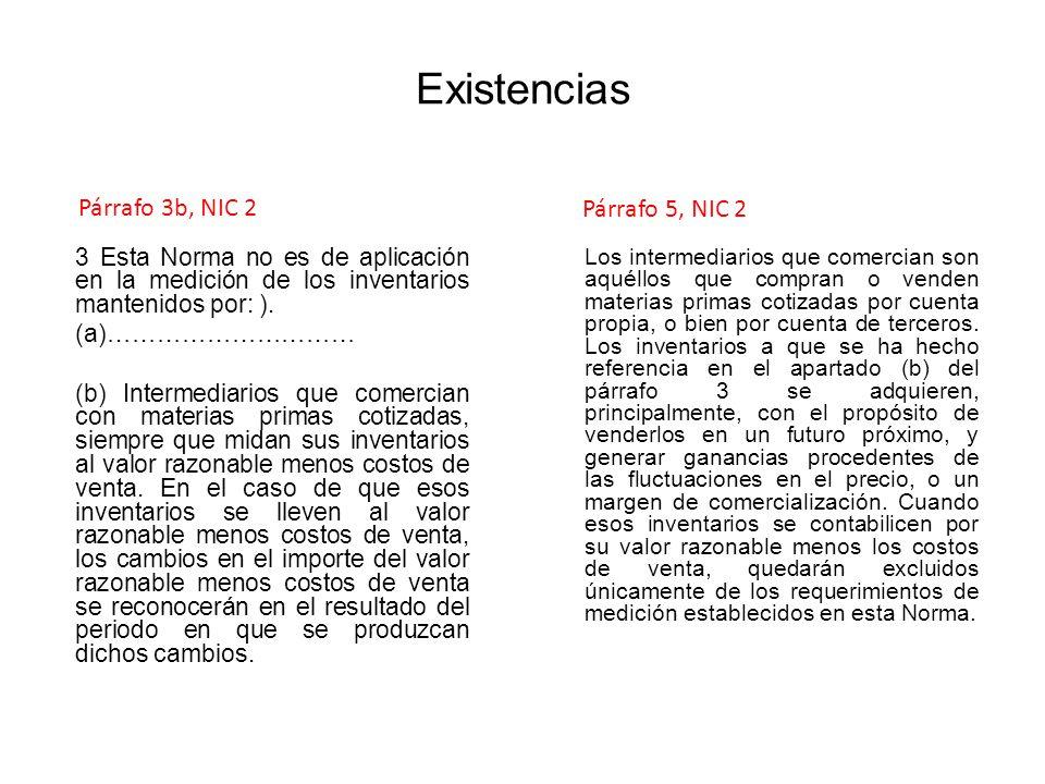 Existencias Párrafo 3b, NIC 2 Párrafo 5, NIC 2