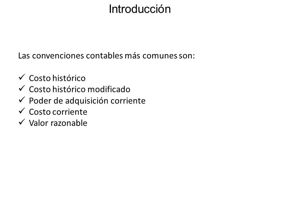 Introducción Las convenciones contables más comunes son: