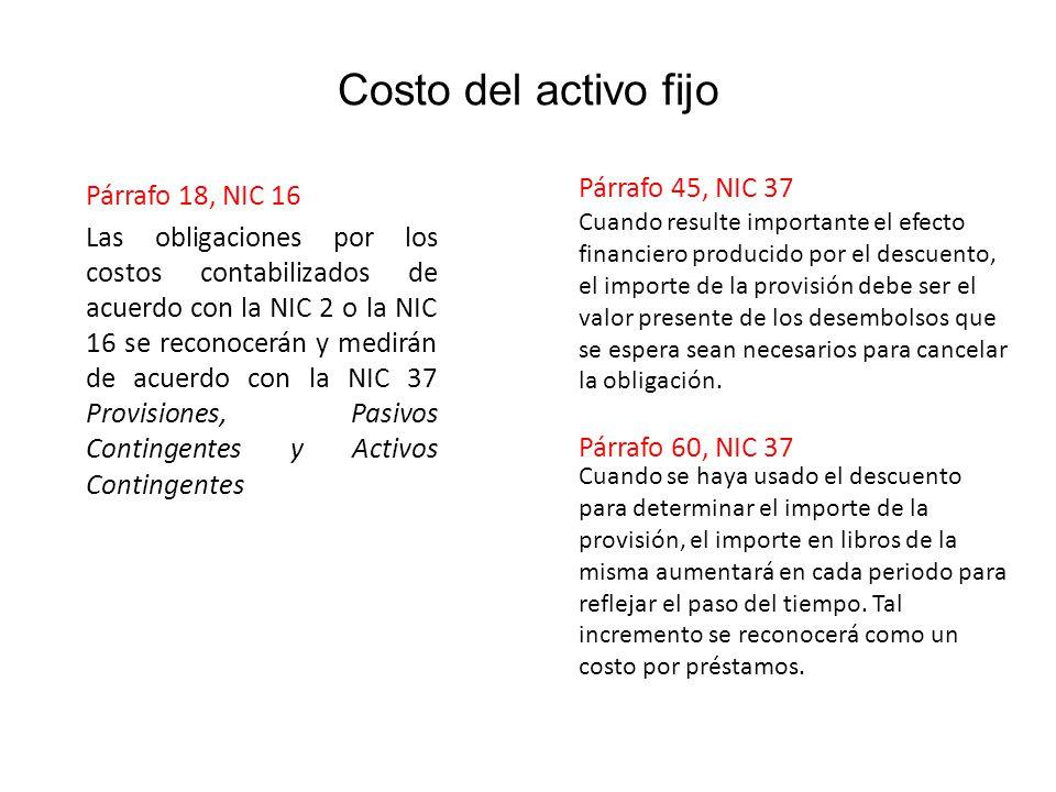 Costo del activo fijo Párrafo 45, NIC 37 Párrafo 18, NIC 16