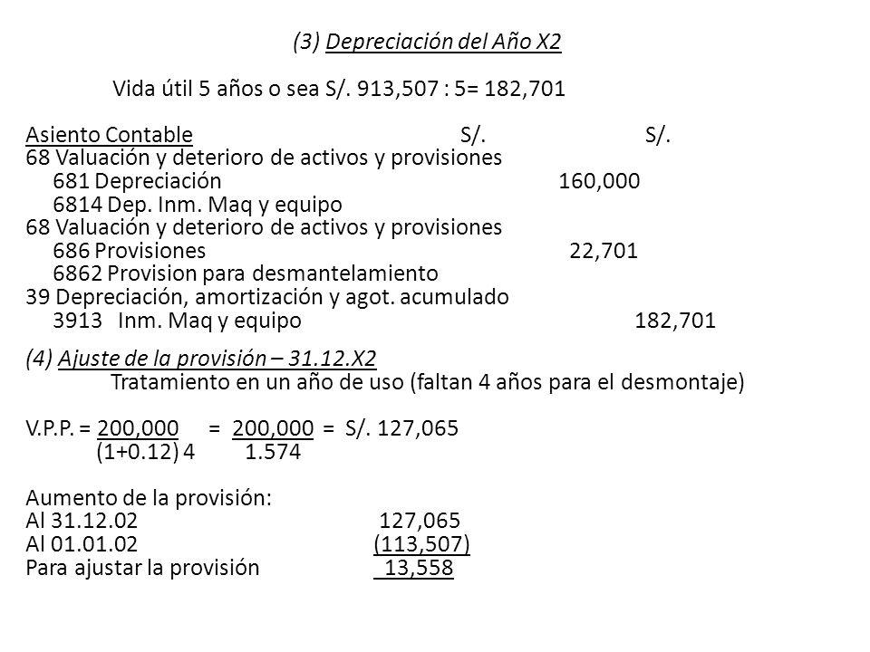 (3) Depreciación del Año X2