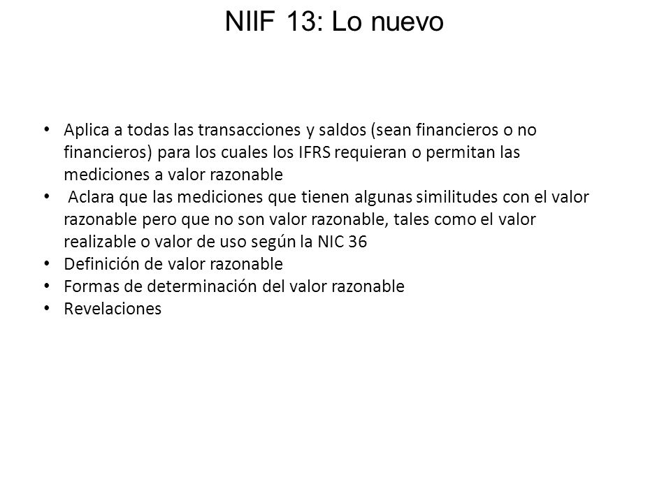 NIIF 13: Lo nuevo
