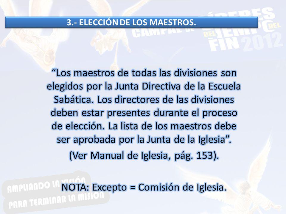 3.- ELECCIÓN DE LOS MAESTROS.