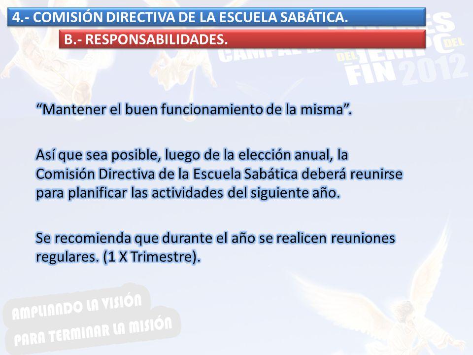 4.- COMISIÓN DIRECTIVA DE LA ESCUELA SABÁTICA.